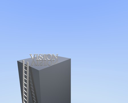 Concept image of a ladder leading to vision.