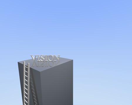 rungs: Imagen conceptual de una escalera que conduce a la visi�n.