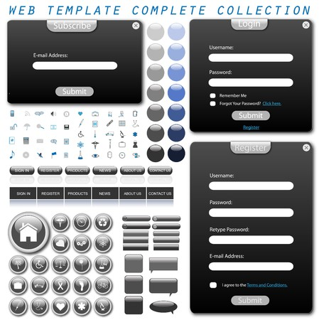 website buttons: Complete web template with forms, bars, buttons, icons and chat bubbles.