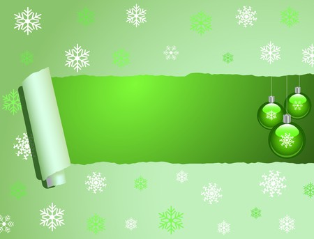 torn: Image of a Christmas ornament scene behind torn wrapping paper.
