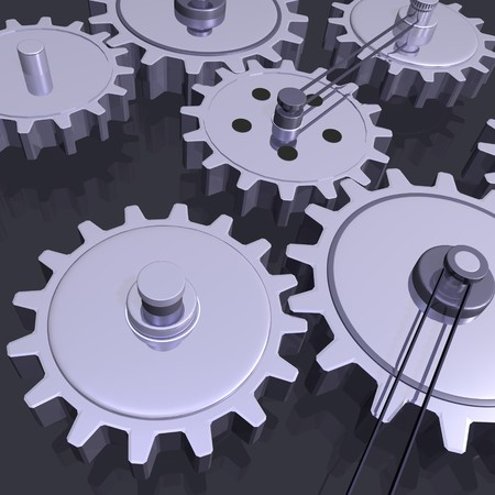 Image of various 3D gears on a grey background. photo