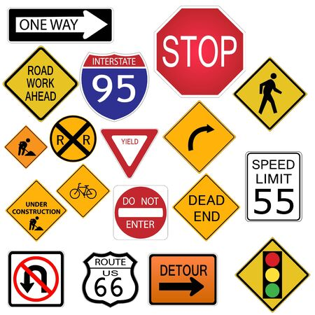 white work: Image of various road and highway signs on a white background.
