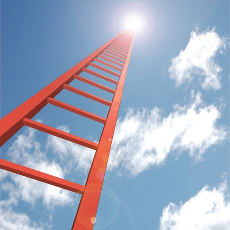 Concept image of a red ladder reaching up to the sky. Imagens