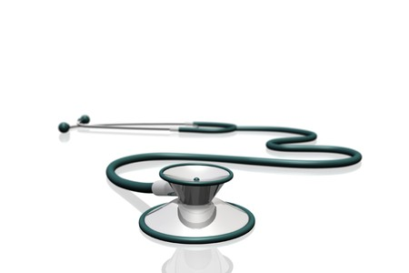 Image of a medical stethoscope isolated on a white background. photo