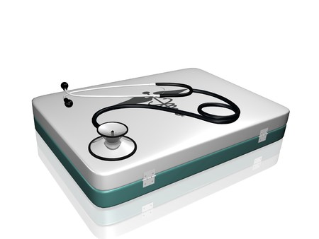 Image of a medical stethoscope and medical kit isolated on a white background. photo