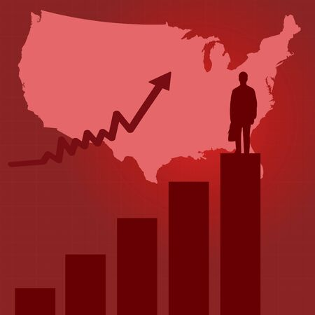 Image of a bar graph and business man on red background. Stock Vector - 7695676