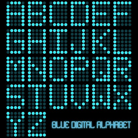 led display: Image of a digital blue alphabet on a dark background. Illustration