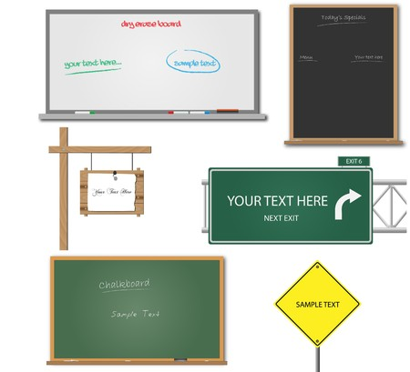 highway signs: Image of various blank signs and boards with editable text.