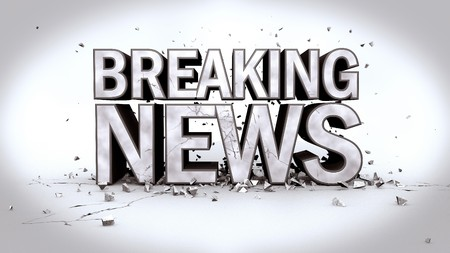 Image of the message Breaking News in 3D text with rubble.