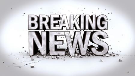 Imagen del mensaje Breaking News en texto 3D con escombros.