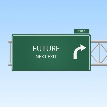 """Afbeelding van een afrit van de snelweg naar """"FUTURE""""."""