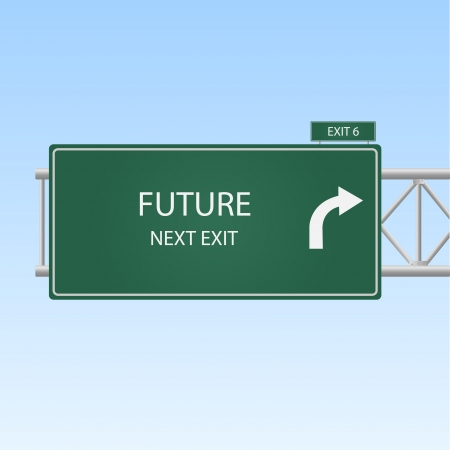 highway sign: Image of a highway exit sign to FUTURE.