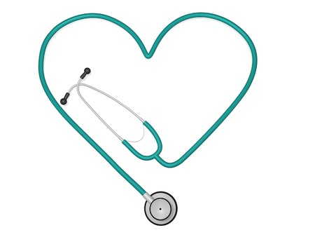 Image of a stethoscope in the shape of a heart. photo