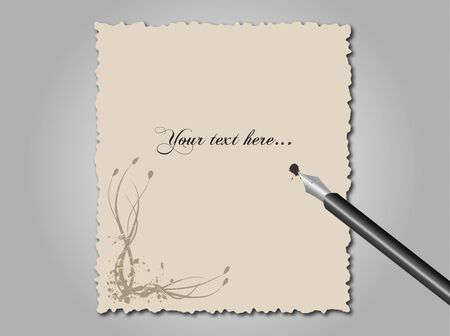 Image of vintage paper and a fountain pen with editable text.