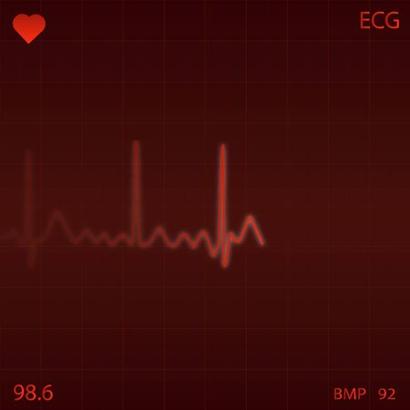 heart monitor: Image of a red ECG heart monitor background. Stock Photo