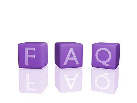 Image of FAQ on 3D cubes isolated on a white background. Stockfoto