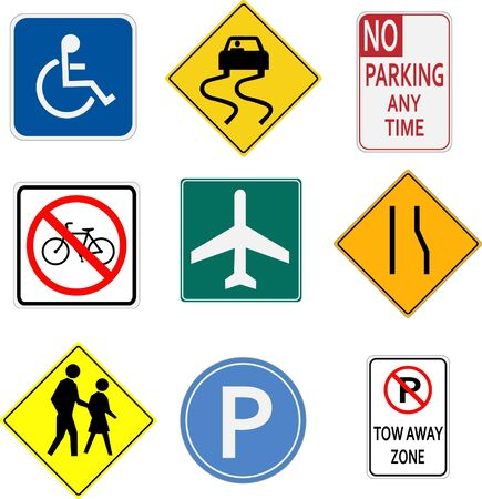 Image of various signs on a white background. photo