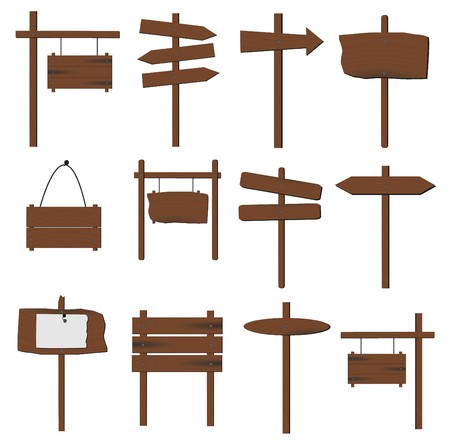 Image of various wooden signs isolated on a white background. photo