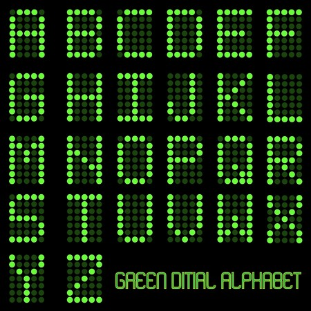 led: Image of digital letters of the alphabet.