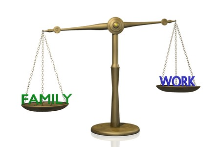 work: Concept image of the balance between Family and Work.