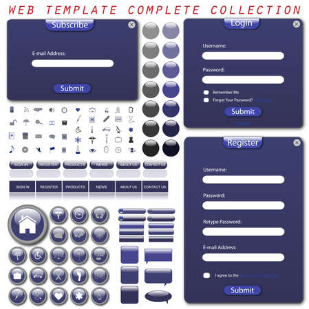 Complete web template with forms, bars, buttons and icons. photo