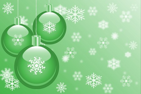 Christmas background with ornaments and snowflakes.