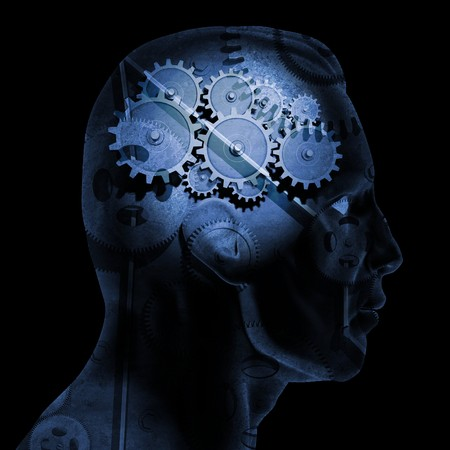 questions: Image of various gears inside of a mans head on a black background.