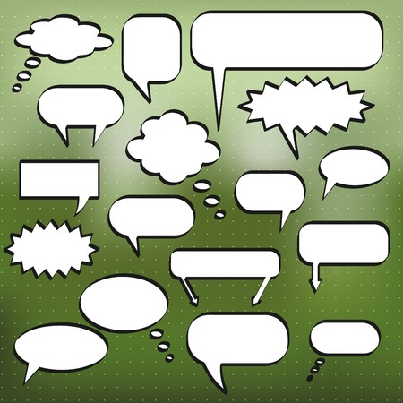 Image of various comic chat bubbles on a colorful green background. Stock Photo - 8183088