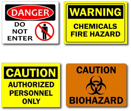 hazard: Image of various caution, warning and danger signs. Stock Photo