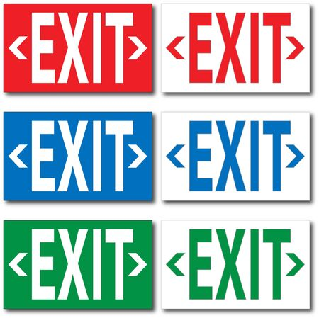 quot: Image of various colorful &quot,EXIT&quot, signs.