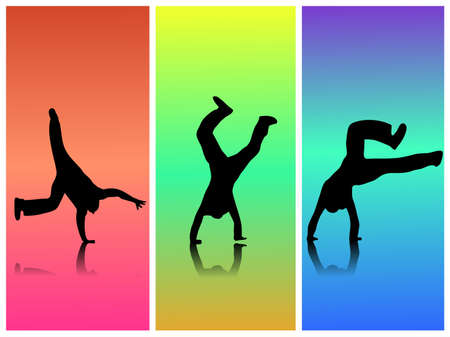 cartwheel: Colorful image of silhouettes in motion.