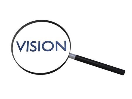 Image of a magnifying glass focusing on the word Vision.