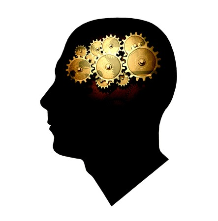 Concept image of gears inside the silhouette of a head. photo