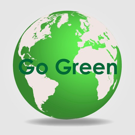 Image of a green globe with the message Go Green.