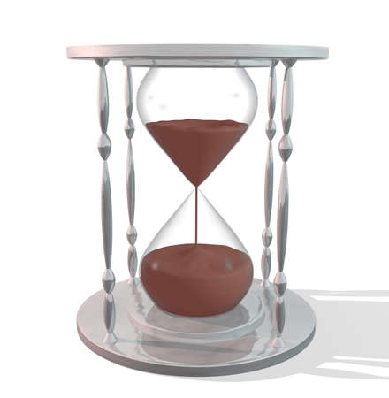 reflection of life: Image of an hourglass isolated on a white background.