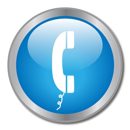 Image of a phone icon on a blue button. Stock Photo - 8183083