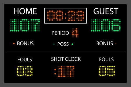 scoreboard: Image of a digital scoreboard. Stock Photo