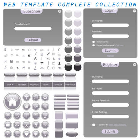 web icons: Grey web template with forms, bars, buttons, icons and chat bubbles. Stock Photo