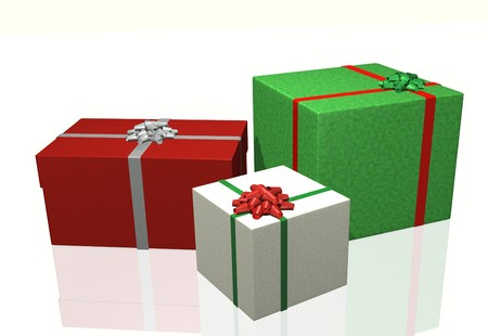 Image of colorful Christmas gifts isolated on a white background.