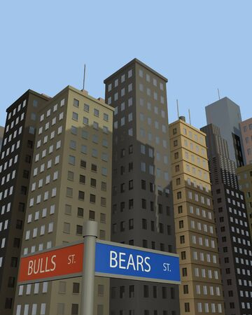 Concept image of street signs to Bulls vs. Bears with skyscrapers in the background. photo