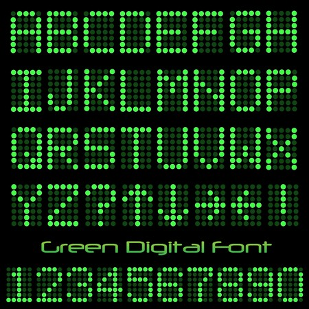 led: Image of a green digital font on a black background. Stock Photo