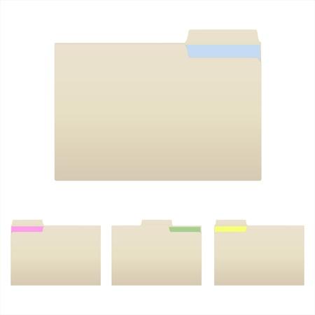 Afbeelding van diverse manilla mappen geïsoleerd op een witte achtergrond.