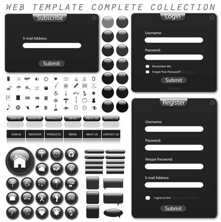 Collection of web template forms, bars, buttons, icons and chat bubbles. photo