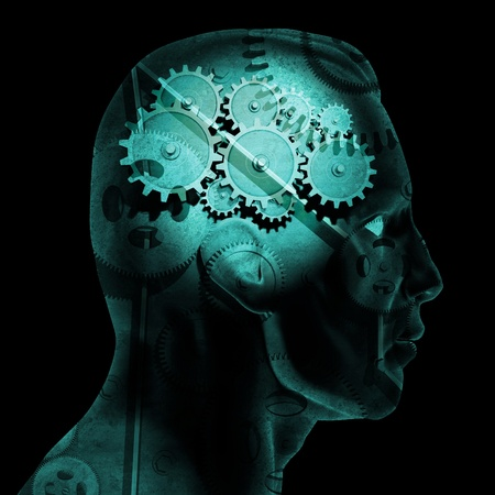 creativity: Image of various gears inside of a mans head on a black background.