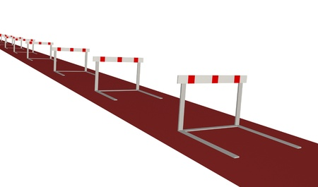 Image of various hurdles isolated on a white background. Stockfoto