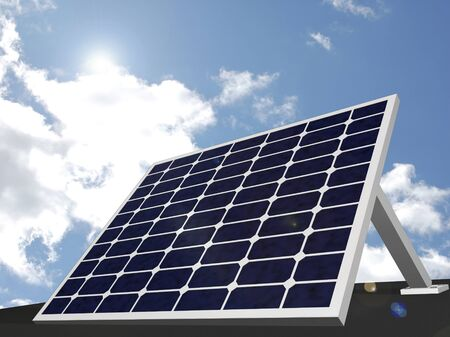 Image of a solar panel with a sky background. photo