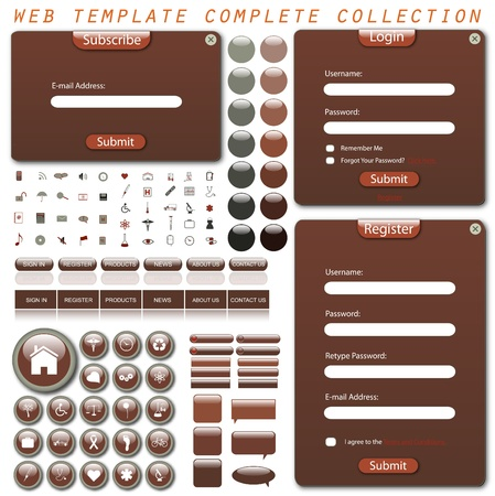 Colorful web template with forms, bars, buttons, icons and chat bubbles isolated on a white background. photo