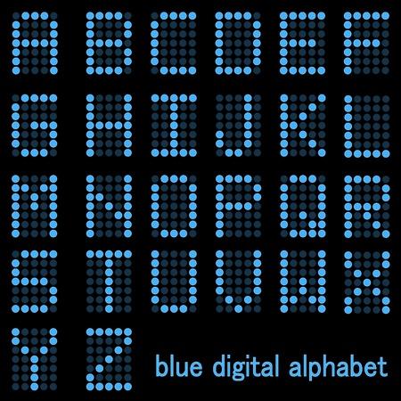 イメージの暗い背景に分離された青デジタル フォントのアルファベット。
