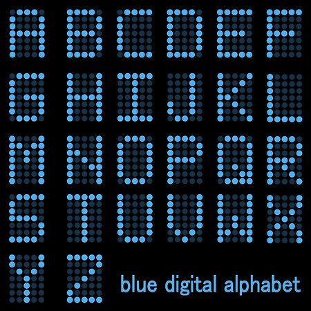 Image of a the alphabet in a blue digital font isolated on a dark background.
