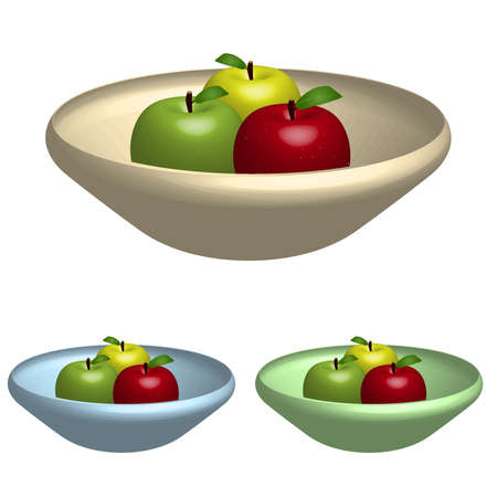 Image of various apples in colorful bowl isolated on a white background.